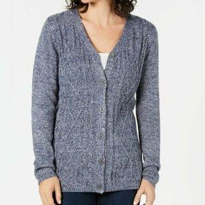 Karen Scott Blue Knit Cardigan Size XXL
